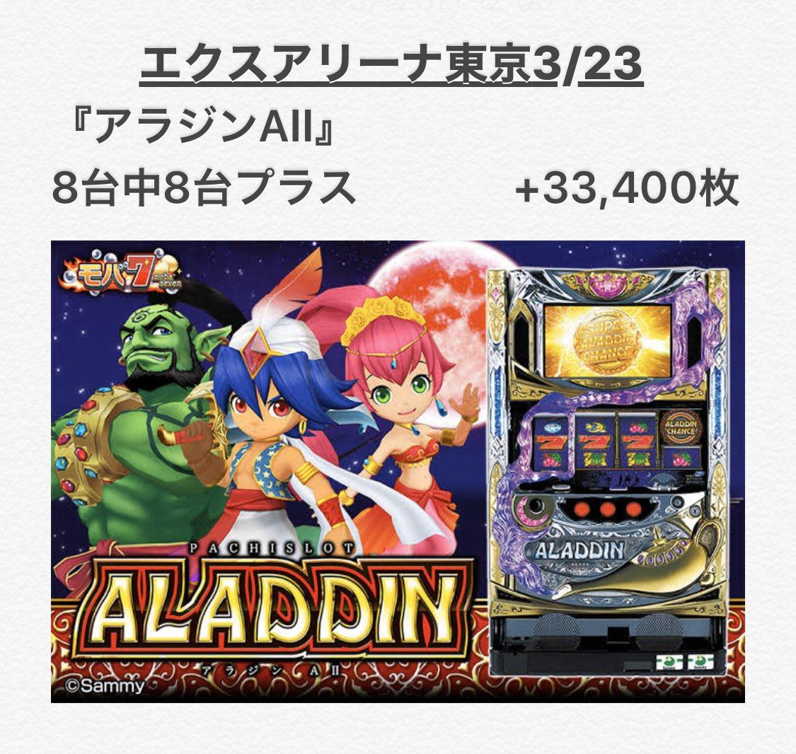 test ツイッターメディア - れおのホールDataまとめ。3/23🔥エクスアリーナ東京□いそまるさん来店⭕️□抽選 : 約320名!?➡️総差枚+約30万枚!?とお祭り騒ぎでした🤣『絆2』は全6ですかね!?🤔お見事様でした✨『アラジンAⅡ』や『地獄少女』もそうですが店内細かくみるとあっちこっちから出てました🤣✨..これは凄い💮 https://t.co/pa1uAjS24F