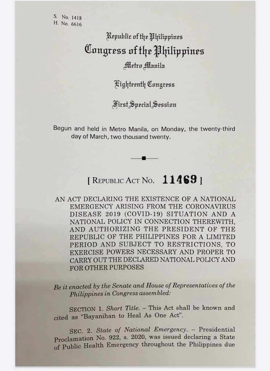 Here's a copy of the Bayanihan to Heal as One Act (Republic Act 11469) Pages 1 to 4 of 14