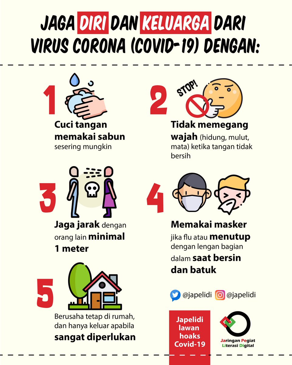 [Sebuah Utas]  Kali ini Ka IBe share informasi dari @japelidi terkait himbauan di masa pandemi Covid-19 ini.  Menariknya, informasinya dibuat dg bahasa2 daerah juga lho.  Yuk sebarkan informasi ini, SohIB!  #IndonesiaBaik #YangMudaSukaData #BahasaDaerah #VirusCorona #Covid19pic.twitter.com/Rschx8X9D7