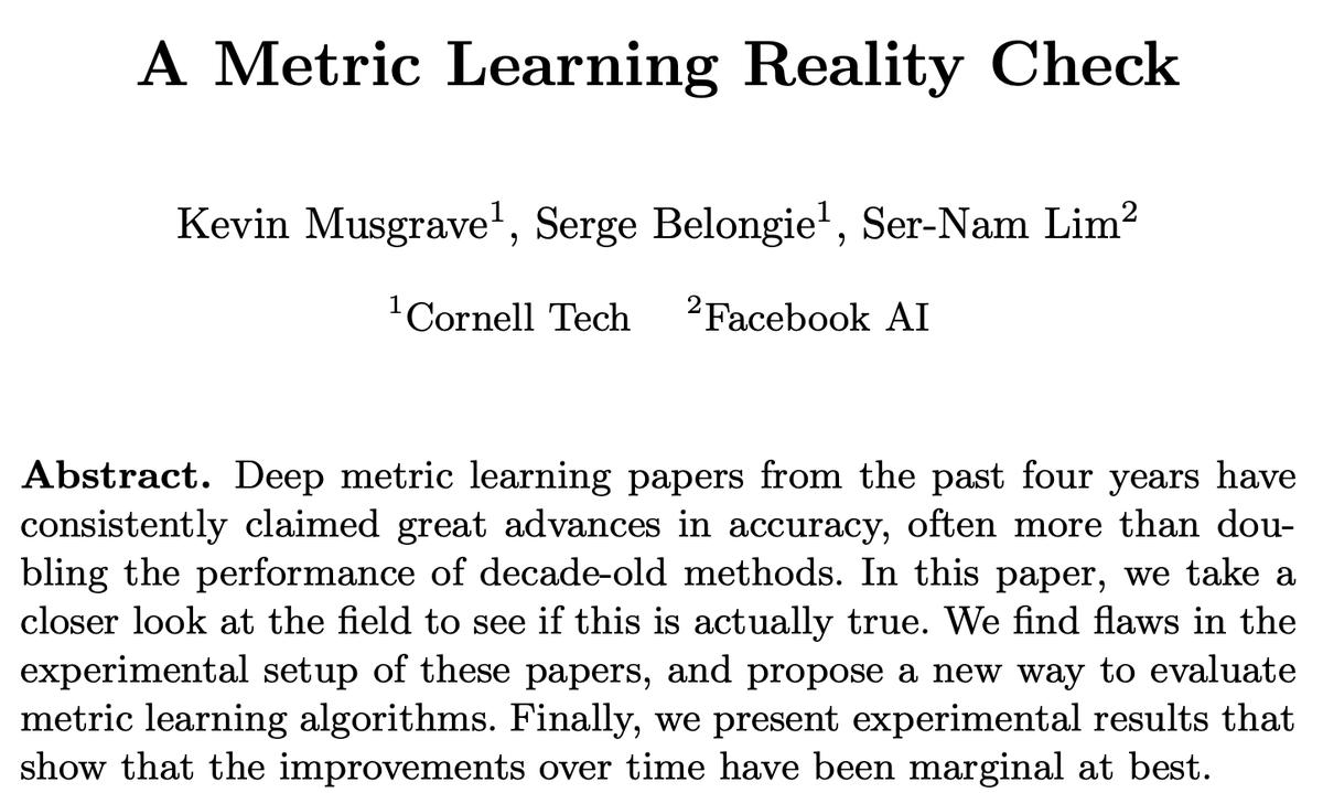 ほぼ同時期に深層距離学習の研究発展についての批判的な論文が出ていて面白いちゃんとチューニングしてフェアに比較すると、contrastive lossからまるで成長していない…論文ちゃんと(略)contrastive/triplet loss系じゃなくてCEでええやん論文