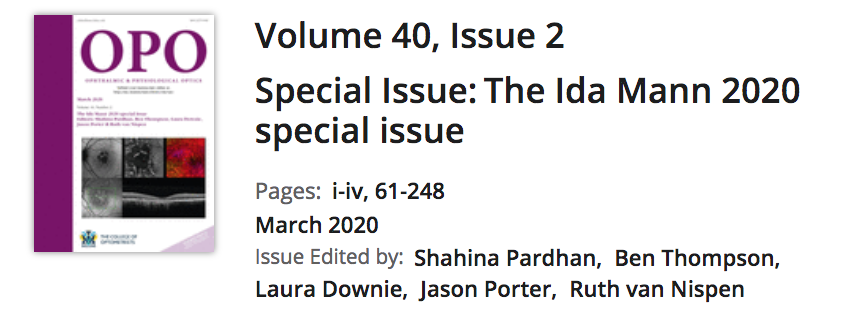 Celebrating many amazing women in #VisionScience, incl. Melbourne's Prof Allison McKendrick @UniMelbDOVS and Prof Erica Fletcher (@EricaF_Unimelb) in the Ophthalmic & Physiological Optics #IdaMann 2020 Special Issue https://t.co/lKckCU0LrY @CollegeOptomUK @OptometryAus https://t.co/O4xMWLs16G