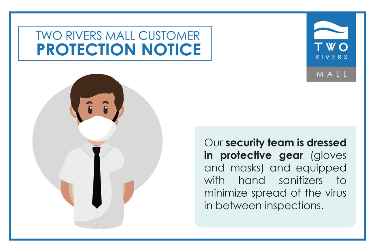 At all our security checkpoints our guards are dressed in masks and gloves and equipped with sanitizer to ensure a safe experience as you shop for your essentials #WeCareForYou