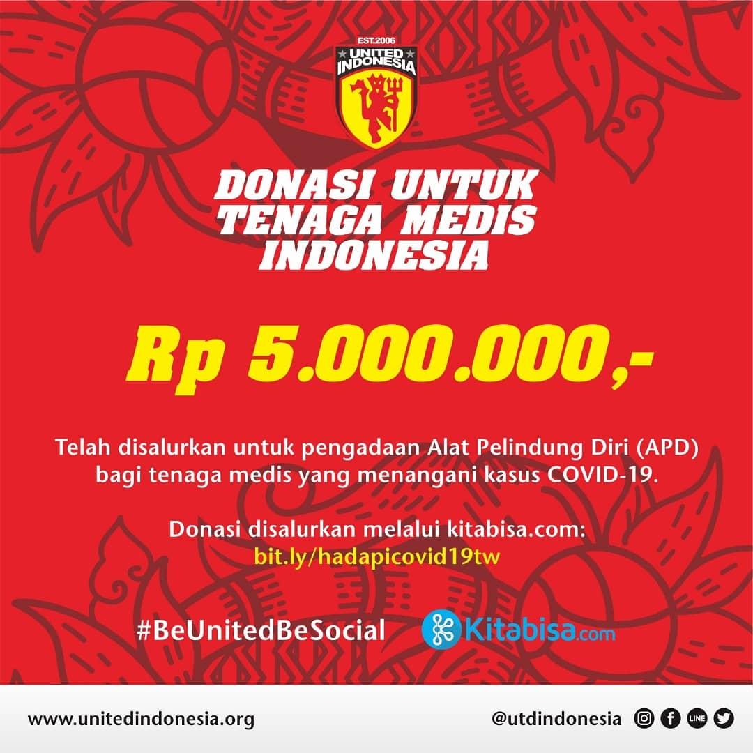 Puji syukur telah kami sisihkan dana kas United Indonesia sebesar Rp 5 juta untuk membantu pengadaan Alat Pelindung Diri (APD) bagi tenaga medis di fasilitas-fasilitas kesehatan yang sedang menghadapi pandemi COVID-19 https://t.co/JxWhs8CMgr