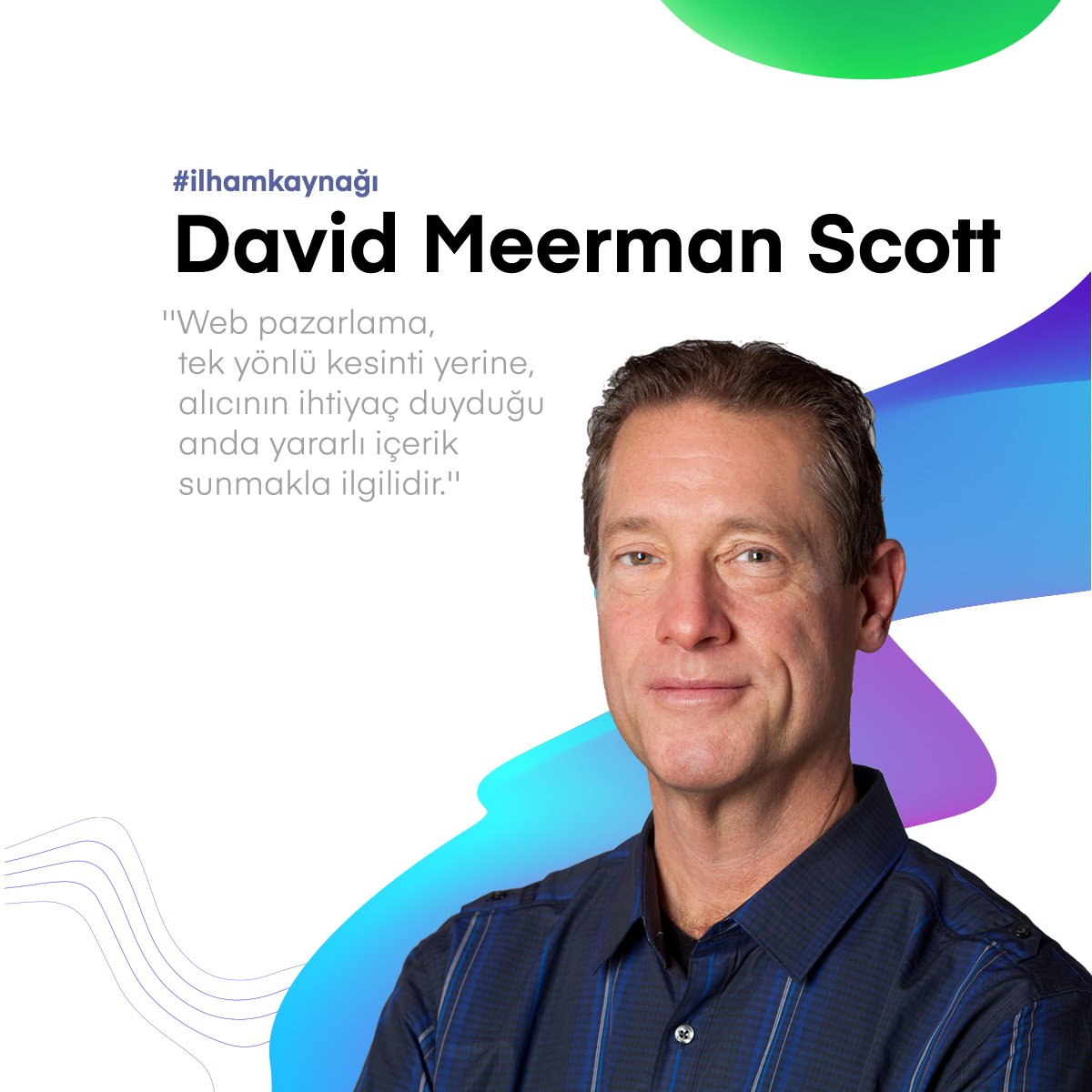Pazarlama ve halkla ilişkilerin Web'de; ana akım medyadan çok farklı olduğu ideolojisinde olan, çevrimiçi pazarlama stratejisti David Meerman Scott, web pazarlamasına kendi bakış açısını getiriyor. .  #davidmeermanscott #digitalmarketing #flatartagency https://t.co/2lgHGox1MC