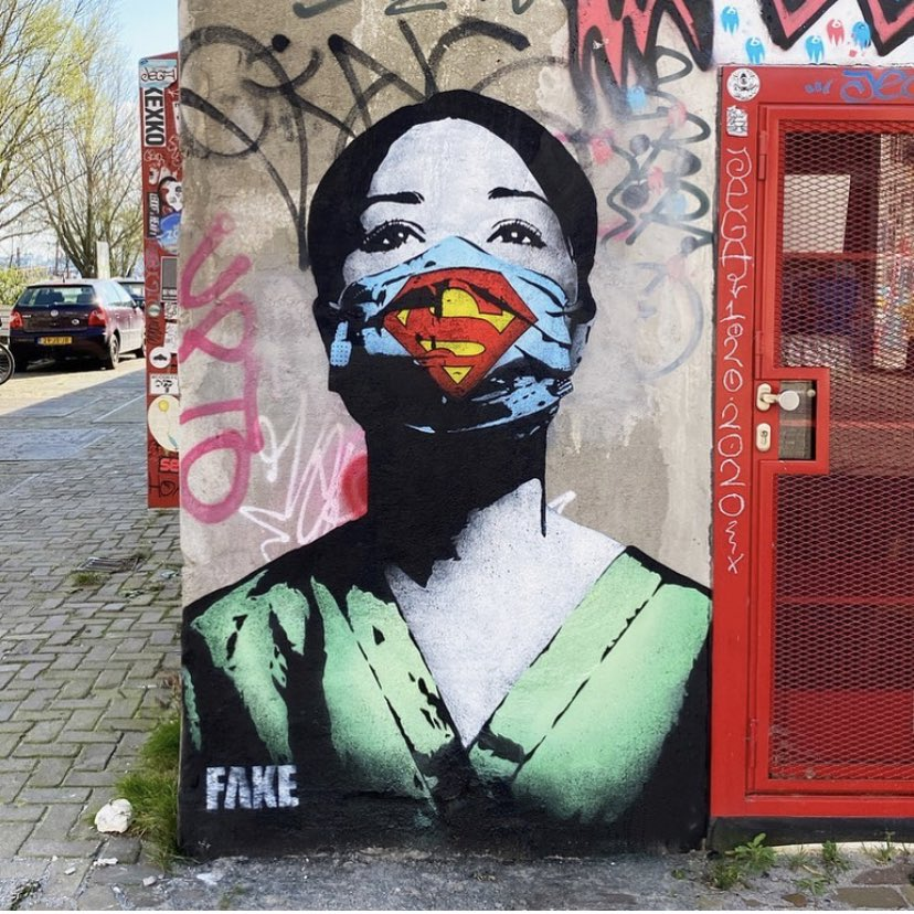 """""""Ode"""" to all healthcare professionals  around de world  #StreetArt by Fake #Amsterdam pic.twitter.com/1b2Veh4m3e"""