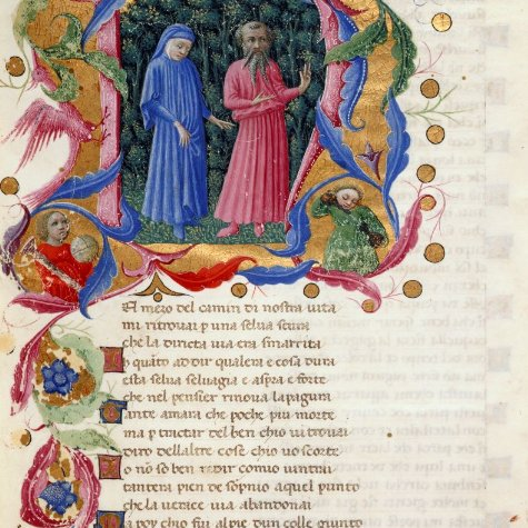 Let's start #Dantedì with the historiated incipit of one of the #DivinaCommedia manuscripts that @BLMedieval preserves, Yates Thompson MS 36 (Italy 1444-c.1450)  @ItalyinUK