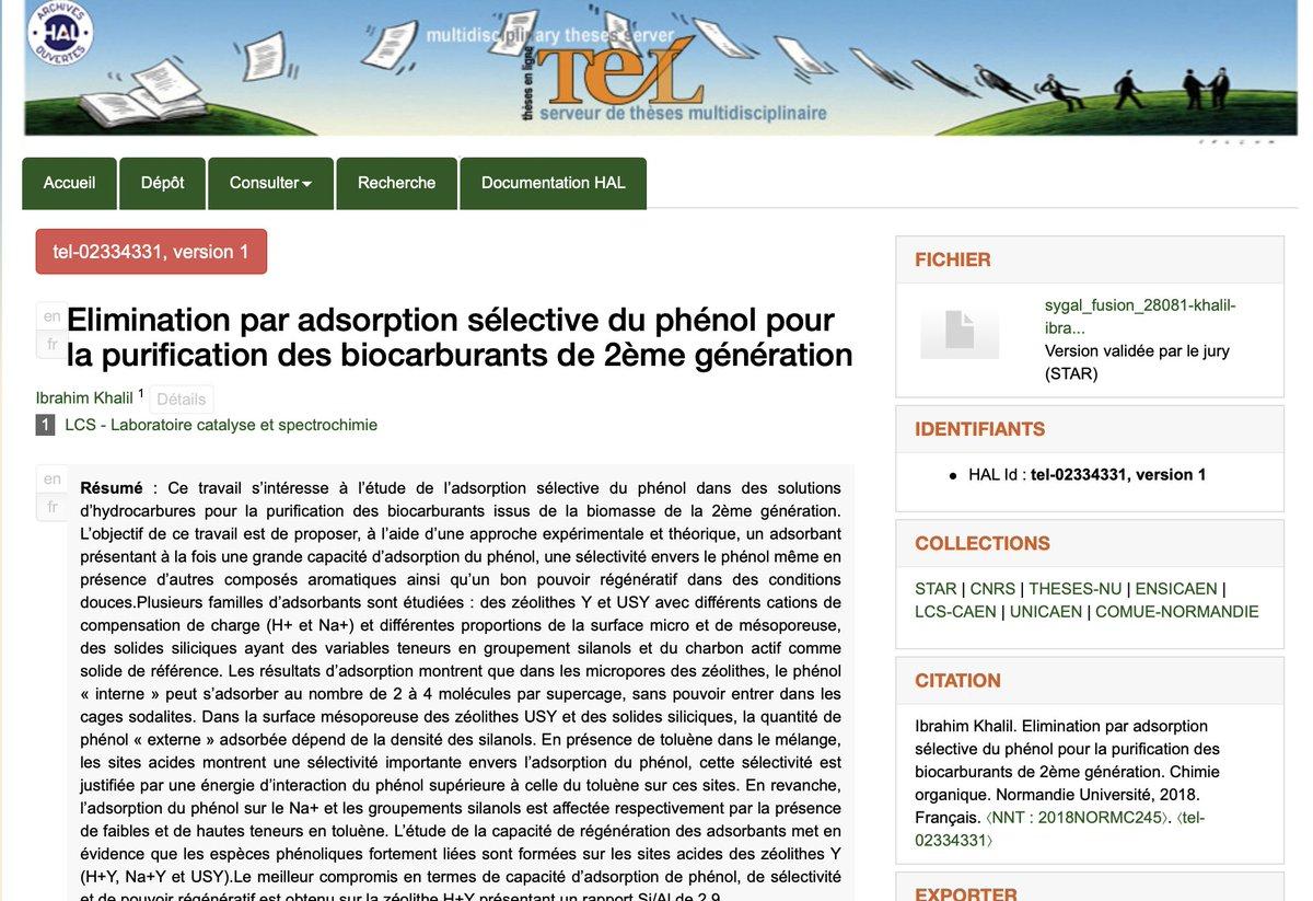 📖Dans cette période de #confinement, un peu de lecture: la thèse d'Ibrahim Khalil @labo_lcs sur les #biocarburants de 2ème génération est maintenant en ligne sur #TEL #OpenAccess ▶️https://t.co/wdW3LHtGYm @INC_CNRS @ENSICAEN  @Universite_Caen @Reseau_Carnot @Carnot_ESP  @CNRS