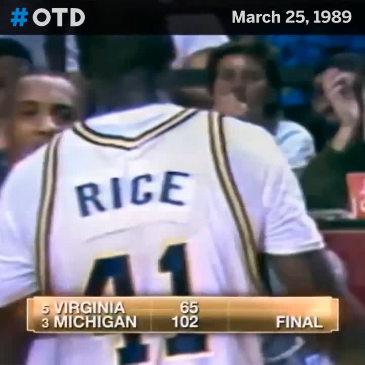 3️⃣1️⃣ years ago, @glenrice41 and @umichbball rolled Virginia to advance to the 1989 Final Four.