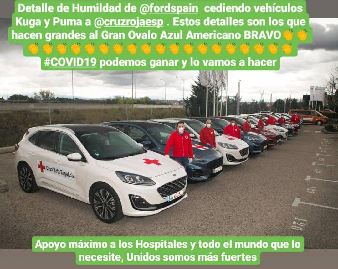 Grande @FordSpain con el detalle de la cesión de sus vehículos a la @CruzRojaEsp #SobranLasPalabras #LaImagenLoDiceTodo #Derrotar al #COVID2019 #Ford #CruzRoja  #FelizMiercoles #QuedateEnTuCasa  Podemos ganar está guerra Bacteriológica todos aportando nuestro granito de arena.