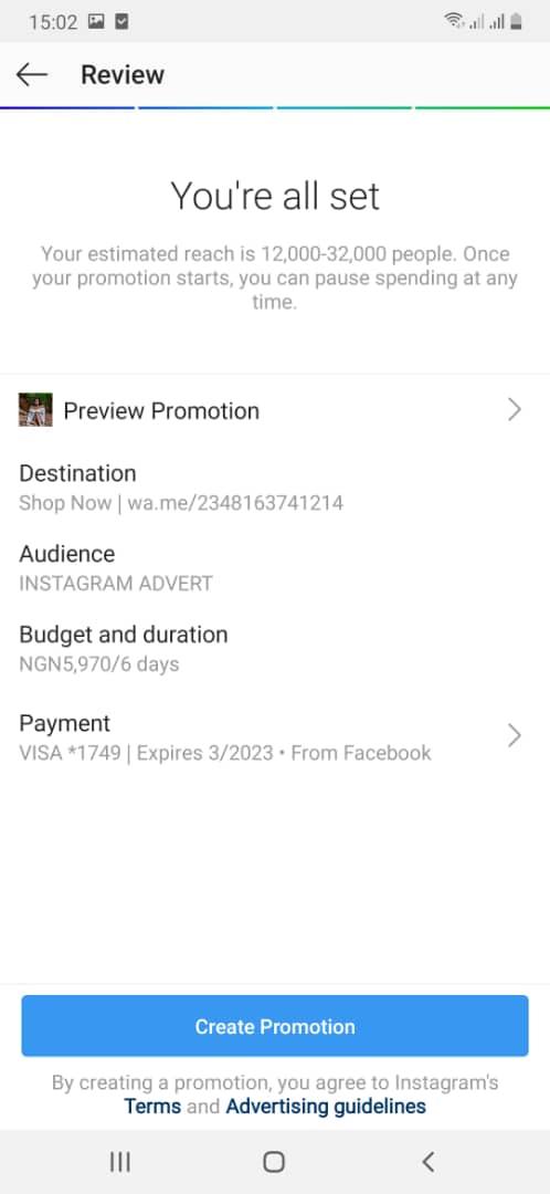 Instagram review advert