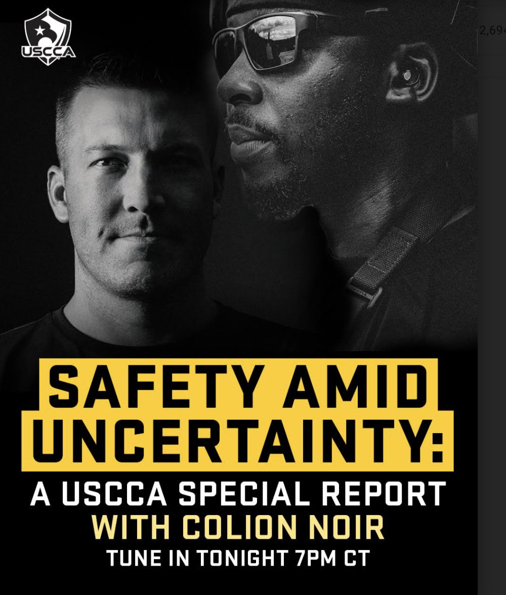 I know its been a minute Twitterverse; but I am back! Yall tune in tonight @ 7pm CST to watch @USCCA CEO Tim Schmidt and special guest, and my bud @MrColionNoir talk about all things safety during the COVID pandemic! usconcealedcarry.com/blog/personal-…