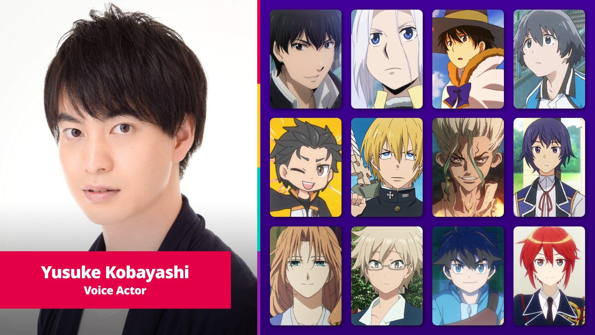 Yusuke Kobayashi and a selection of his anime roles.