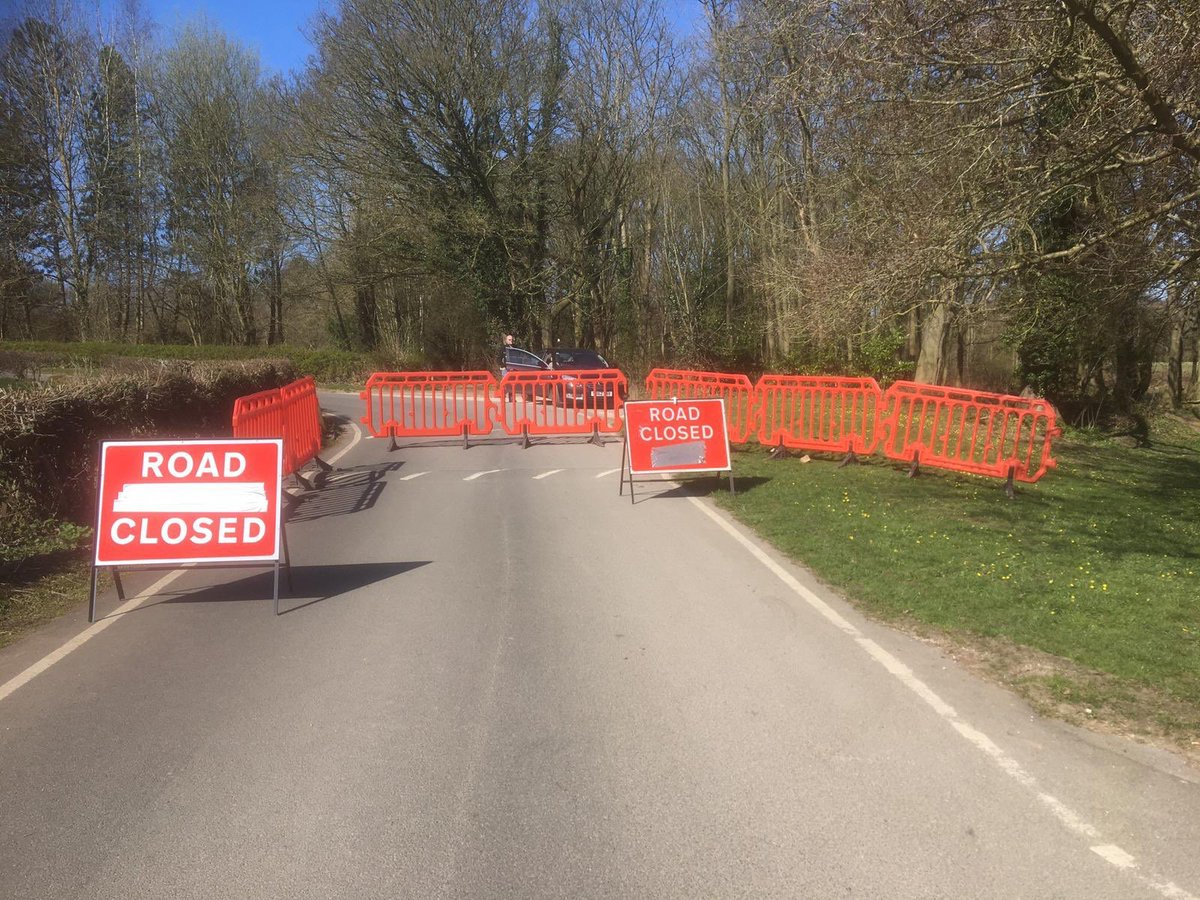 The Allestree Park road closure preventing access to the car park. #staysafe #CoronavirusLockdownUK