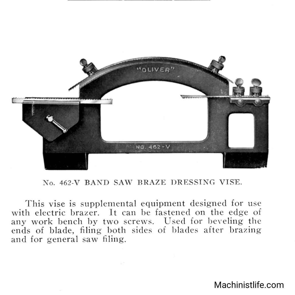 Old Oliver 462-V band saw blade brazing vise. Found this in a 1940s Oliver band saw manual. Oliver Machinery was started around 1903, and is well known for industrial woodworking equipment.  #olivermachinery #bandsaw #oldtools #machinists #vintagemachinery #machinistlifepic.twitter.com/6einsryNRM