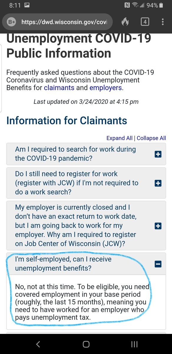 So in Wisconsin self employed workers get zero help