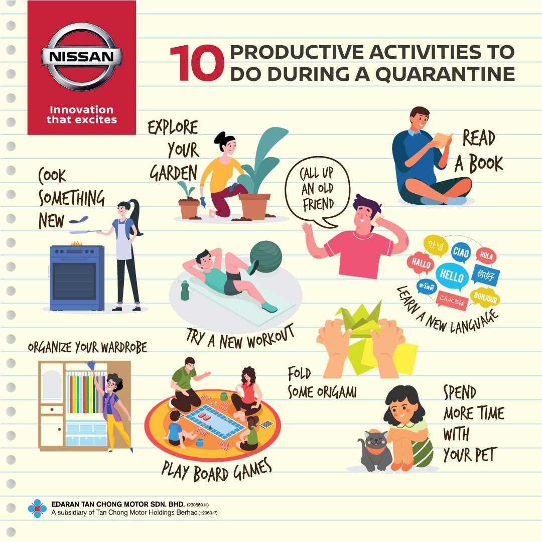 Staying home during the Movement Control Order doesn't have to be a bore. There are lots you can do from switching things up. Check out our list of productive activities you can do during this period.   #StayHome #DudukRumah #NissanMalaysia https://t.co/az0KSseqaP