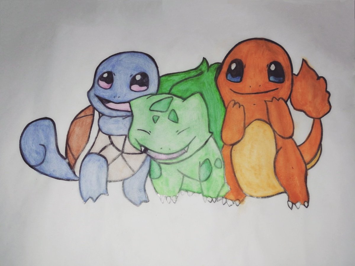 Squirtle, Bulbasaur and Charmander #squirtle #bulbasaur #charmander #pokemon #kanto #pokemonindigoleague #indigoleague #pokemonredandblue #pokemonredblue #pokemonred #pokemonblue #pokemonart #pokemondrawing #oilpainting #fabercastell #watercolor #art #drawing #draw #sketchpic.twitter.com/mloiGoTExn