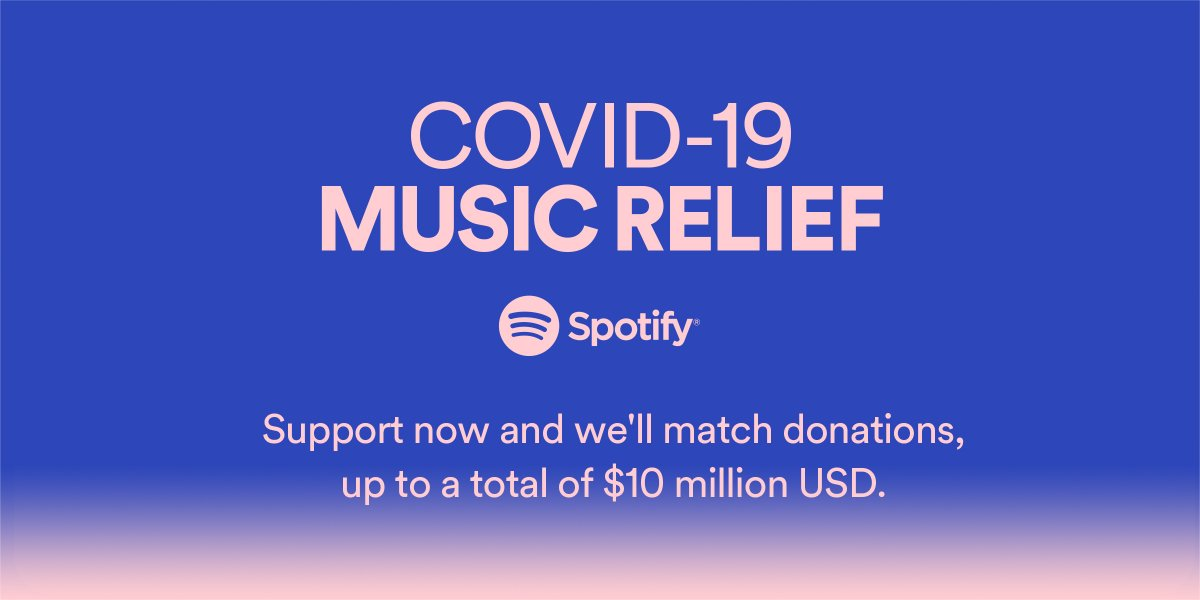 The global music community needs us all. Help us to uplift organizations that offer relief: http://spoti.fi/MusicRelief #SpotifyMusicRelief