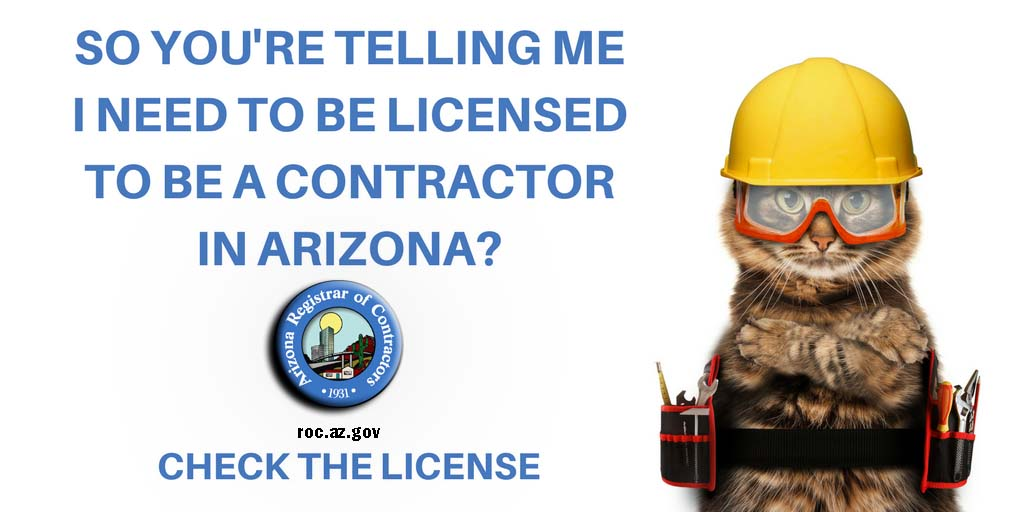 #WisdomWednesday Always ask a contractor if they are licensed and check the license at roc.az.gov.