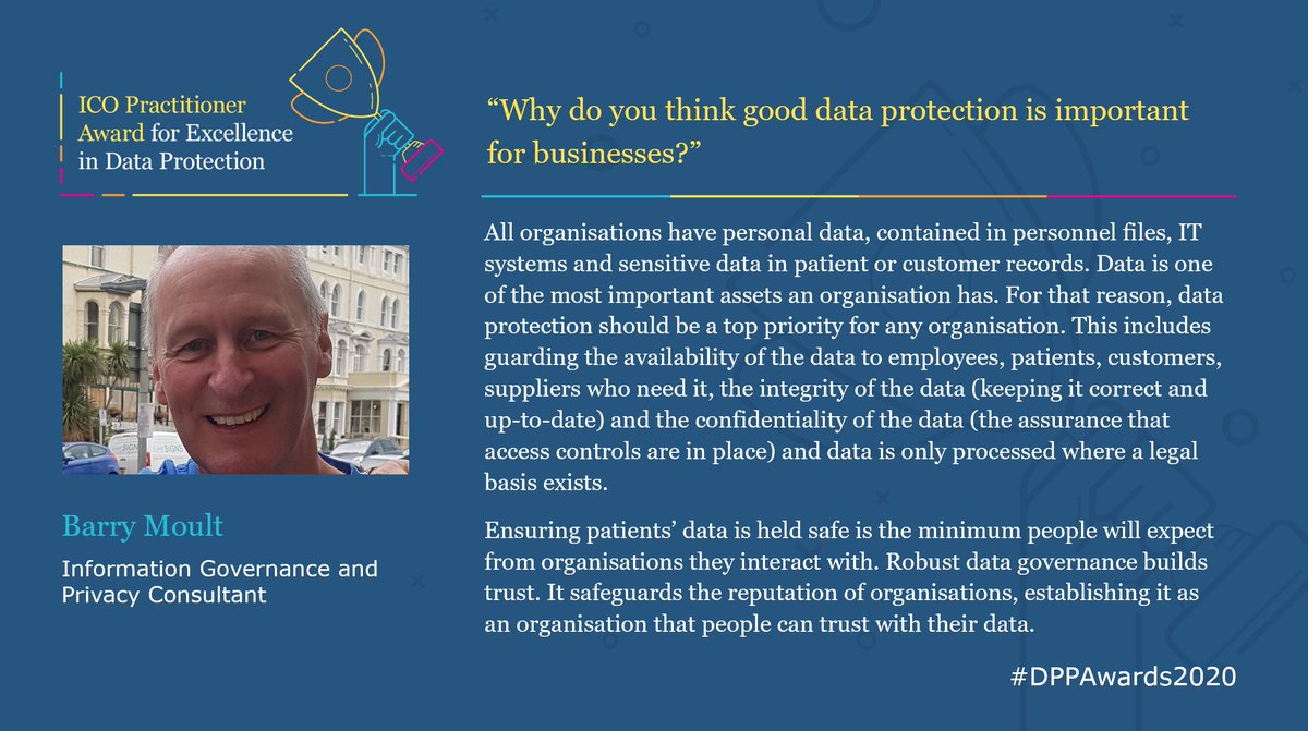 Our second nominee is Barry Moult! Barry is an Information Governance and Privacy Consultant, and a former Head of Information Governance for an NHS Trust. Congratulations!