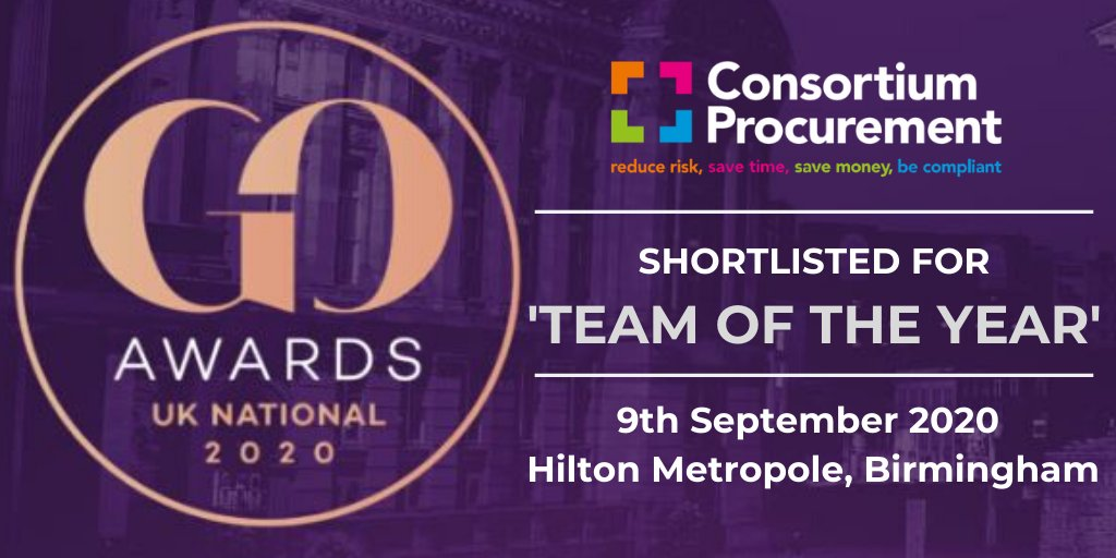 Consortium Procurement are delighted to tell you that we have been shortlisted for the 'Team of the Year' award at the UK National Government Opportunities (GO) Excellence In Public Procurement Awards. Follow the link for details: https://www.goawards.co.uk/national/finalists/ …  #TeamOfTheYear pic.twitter.com/jRBuKyiQDf