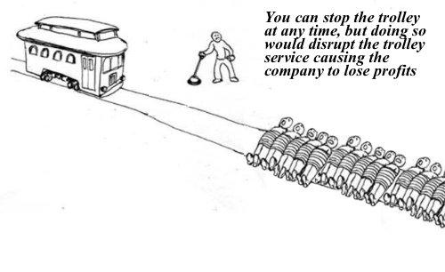 .@realDonaldTrump with a classic trolley problem in front of him.
