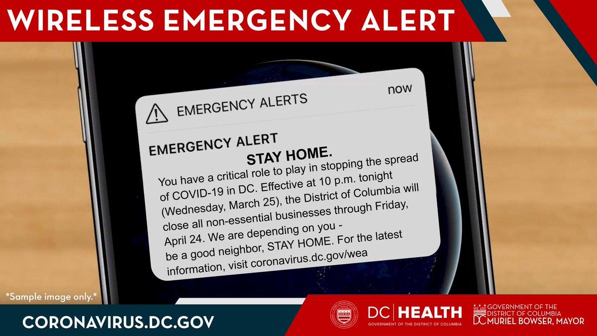 DC residents will get a wireless alert tonight #coronavirus warning to stay home