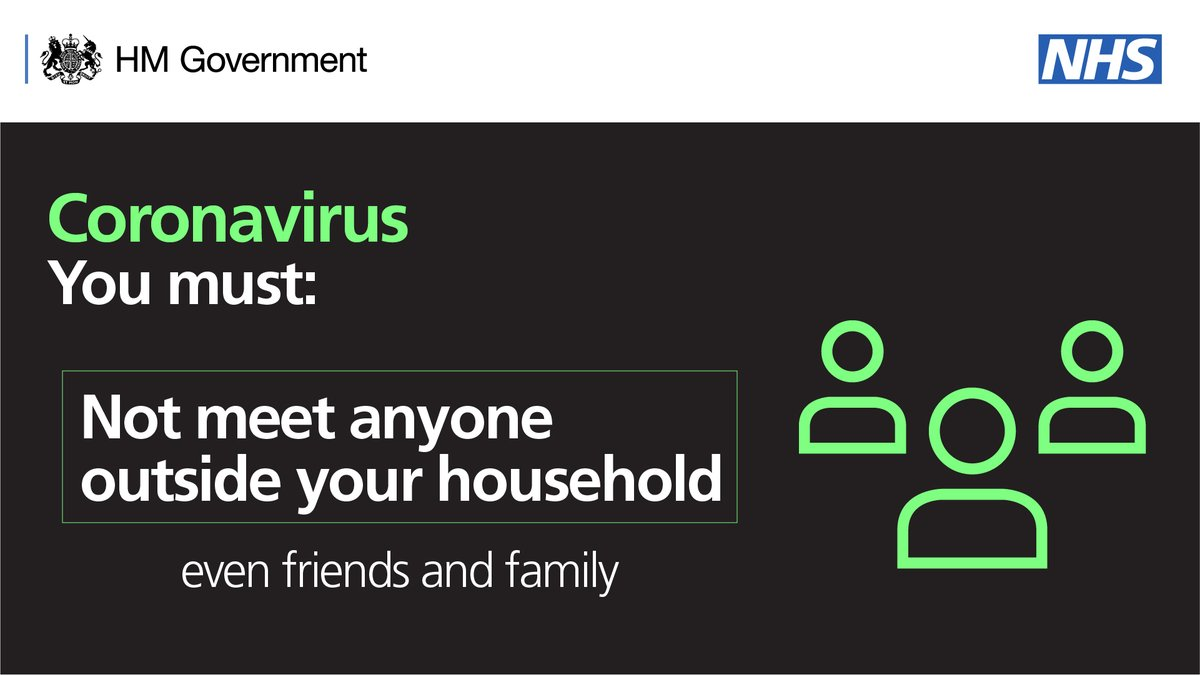 ❌ You MUST not spend time with anyone outside of your household. This includes any family or friends you dont live with. Instead, keep in contact by phone, messages, or video calls online. Keeping in contact in this way is important for your #mentalhealth. 🖥️📲