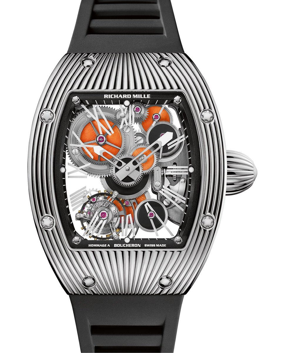 #historicalmodels Never before had the usual gear wheels been manufactured in semi-precious or precious stones, such as this onyx and coral version. An astounding technological achievement. #RichardMille https://t.co/7XyKZoNHwu