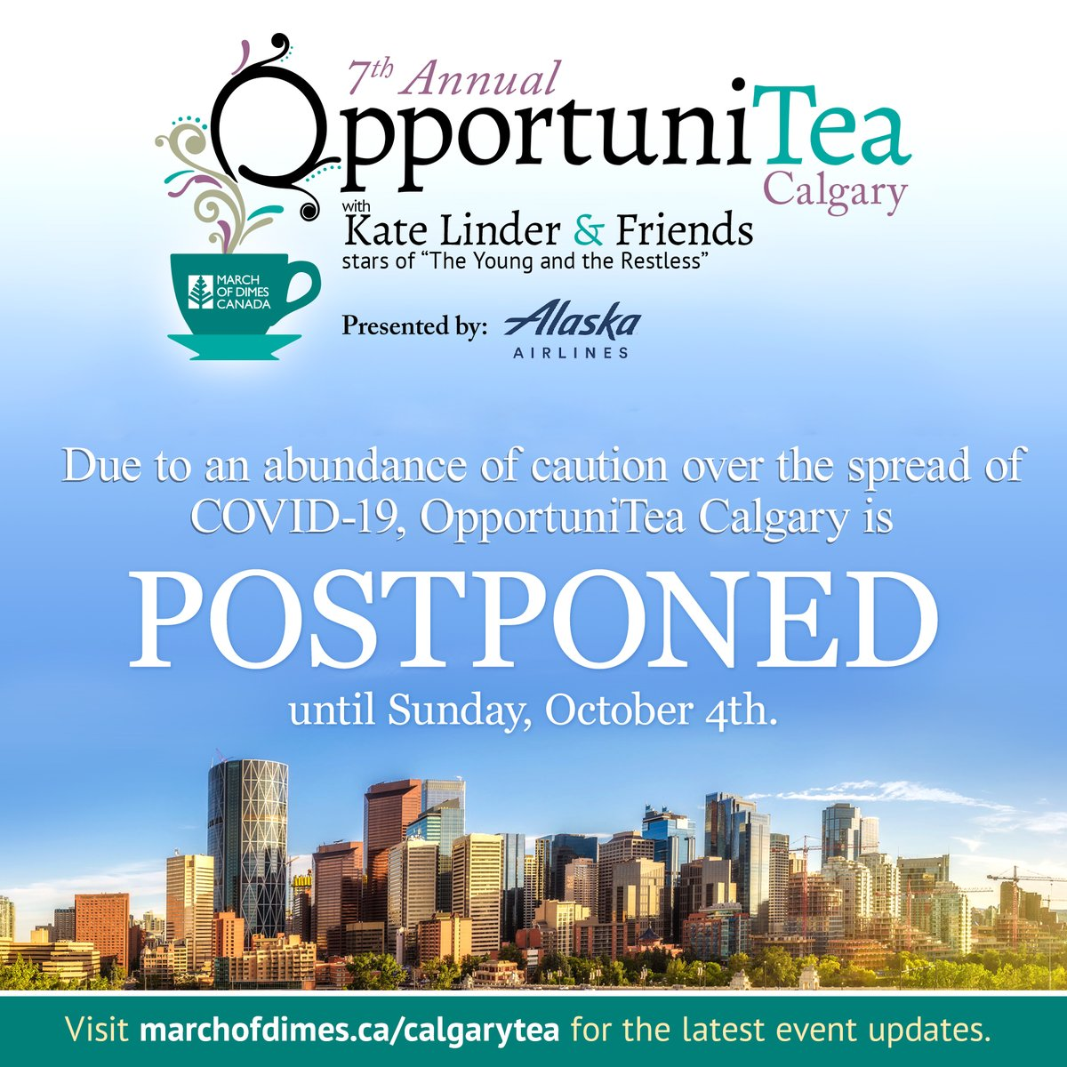 Due to an abundance of caution over the spread of #COVID19 , #OpportuniTea  #Calgary  is postponed until Sunday, October 4th.  For more information about OpportuniTea #Calgary  please visit:  http://marchofdimes.ca/calgarytea    @KATELINDER  @CJLeBlanc  @sharonlcase  @MarkGrossman