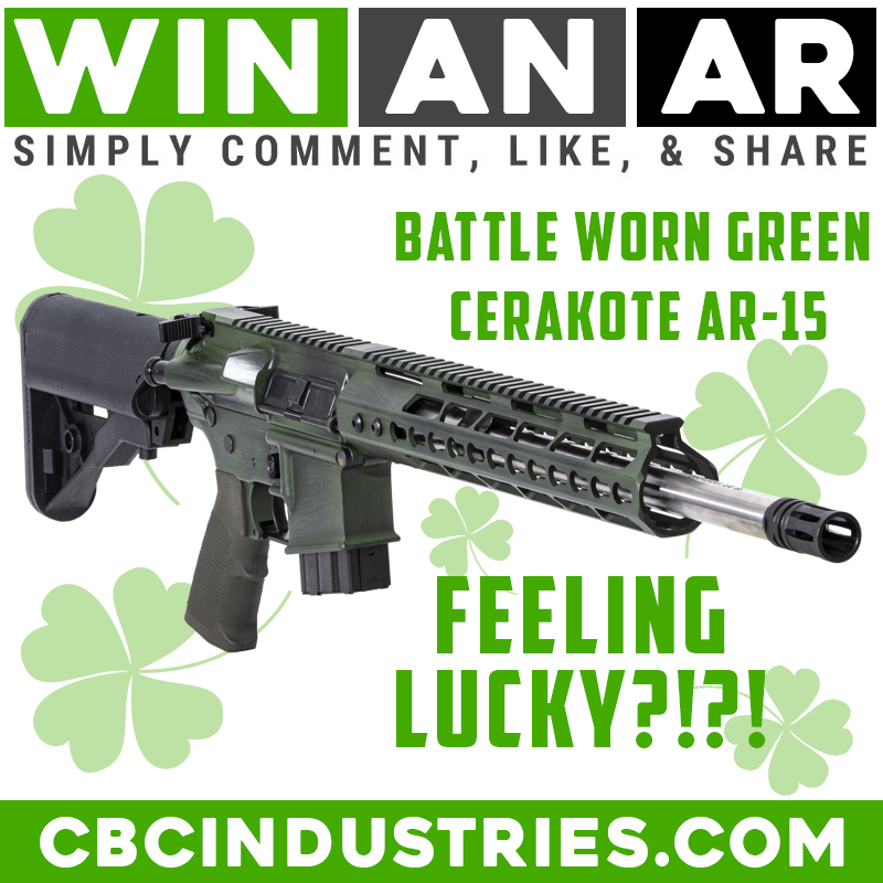 Feeling Lucky?!?! Like, Comment, and Repost this post to win this CBC Industries Battleworn AR! Win this awesome Battleworn Green Cerakote AR-15 with 300 Blackout stainless steel barrel, OD Green pistol grip, ambidextrous charging handle, and Sopmod buttstock. #giveaway #usa #win https://t.co/UbGt1m6dvf
