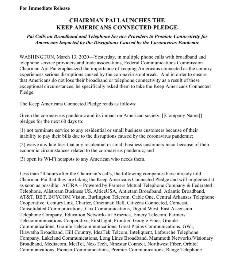 Charter is focused on serving our 29 million customers and is pleased to stand alongside @AjitPaiFCC & others in the industry to ensure Americans maintain connectivity and don't incur service terminations or late charges due to economic circumstances related to #coronavirus https://t.co/dc1bKB9g9k