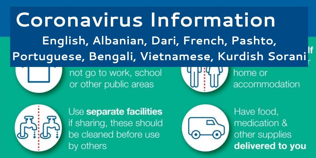 Latest advice - We've translated #NHS updated guidelines + resources on to how to stay safe from #COVID19  #COVID_19uk #Coronavirus  Available now in English, Albanian, Dari, French, Pashto, Portuguese, Bengali, Vietnamese, Kurdish Sorani  https://t.co/w3JBnojKg5 https://t.co/TGkK1XvK5A