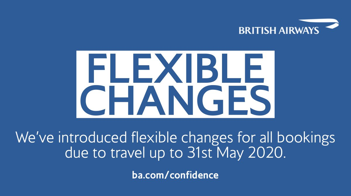 Due to the ongoing uncertainty around #COVID19, we have introduced flexible changes for anyone due to travel up to 31st May 2020. Visit https://t.co/OvVGSRdIO4 for more information about your options. https://t.co/3lN8TR0wou