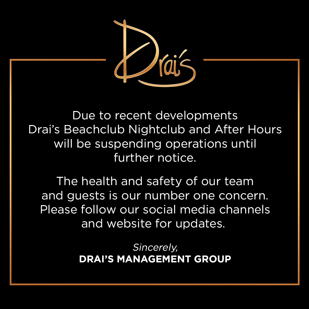 Drai's Nightclub (@DraisLV) on Twitter photo 2020-03-13 18:37:50