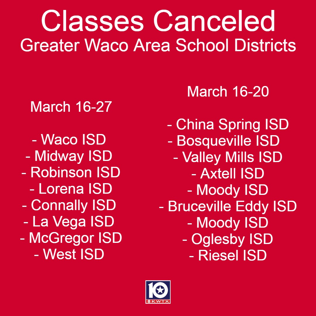 Here are the specific dates the Waco area school districts will be closed.