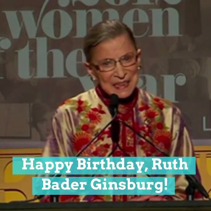 Happy 87th birthday to Supreme Court Justice Ruth Bader Ginsburg, aka the