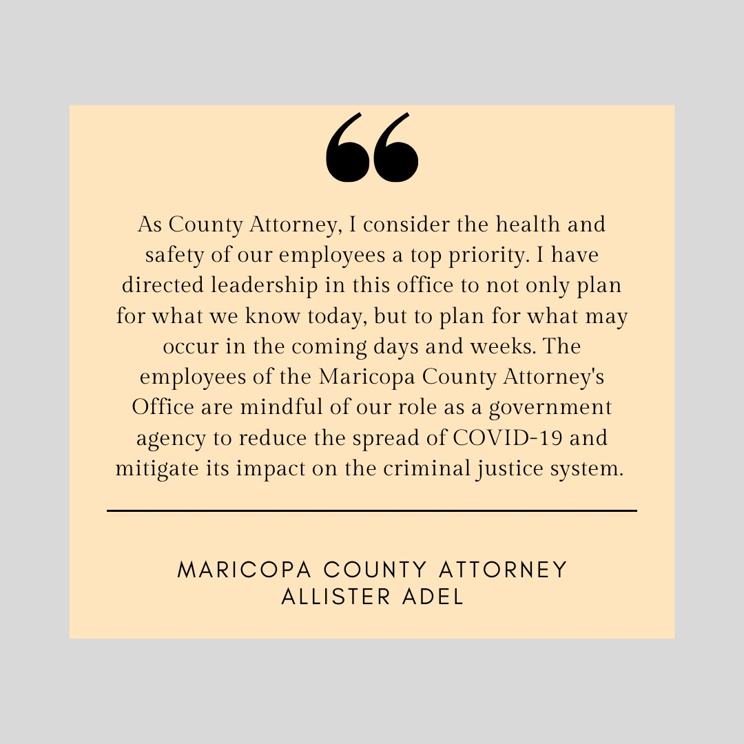 Statement from County Attorney @AllisterAdel regarding COVID-19.