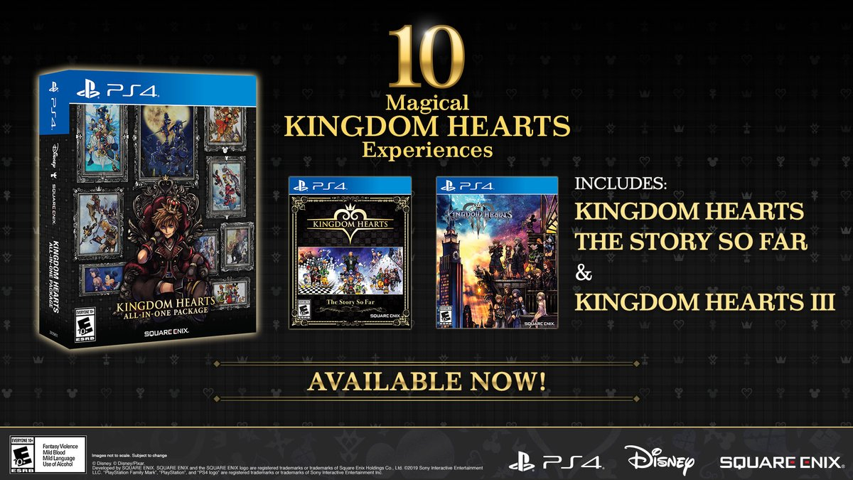 The magical #KingdomHearts All-in-One Package is now available on #PS4 in North America!   With 100+ hours of gameplay, this physical bundle includes: ✅ KINGDOM HEARTS –The Story So Far–  ✅ KINGDOM HEARTS III   Learn more: https://t.co/a8YPGxY0EL https://t.co/RSblZgTACU