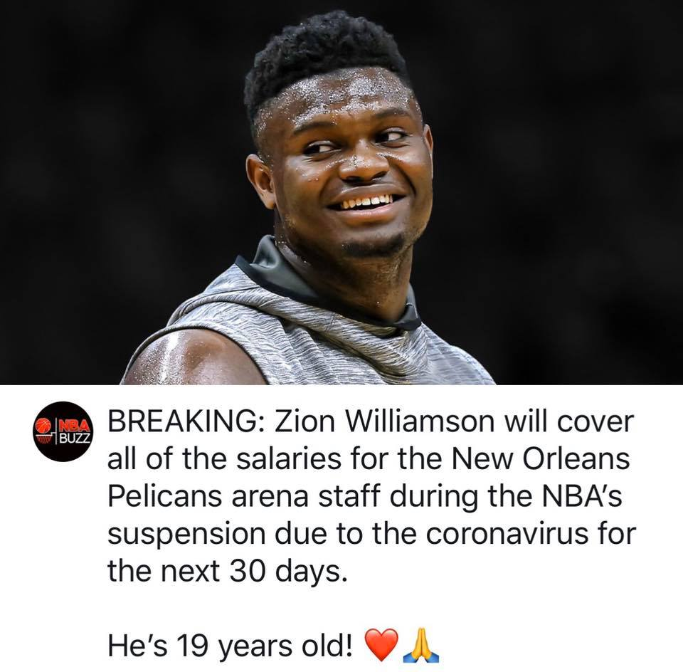 Well done kiddo...I'm so proud of you being member of my team #zionwilliamson #wontbowdown  #NewOrleansPelicans #SmoothieKingCenter #NOLA #coronavirus #BeLikeZionpic.twitter.com/Ed0mG6jG7E