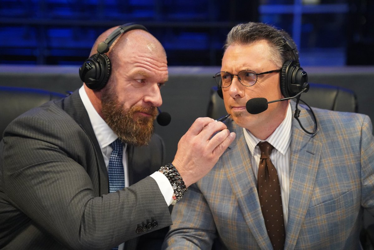 Tonight was an effort that brought together everyone @WWE so we could go on air and entertain our most important constituency ... YOU.   Thanks for letting me get my hands (and @MichaelCole's facial hair) dirty!!!   #ThankYou #Smackdown @WWEPC https://t.co/HslV2or7El