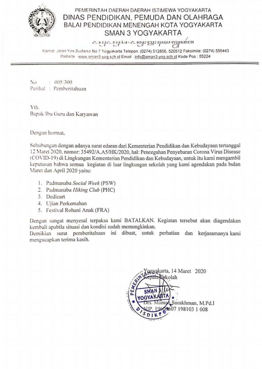 Padmanaba Official On Twitter Berikut Kami Sampaikan Surat Pemberitahuan Pembatalan Kegiatan Dan Langkah Preventif Sekolah Dalam Pencegahan Penyebaran Virus Corona Virus Disease Covid 19 Mohon Maaf Sebesar Besarnya Kpd Berbagai Pihak Terkait