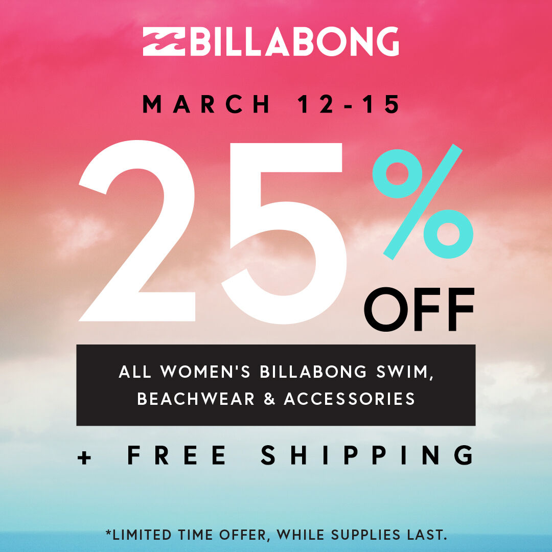 This weekend only! Shop Billabong Women's for 25% off in-store or online ☀️ Plus FREE SHIPPING Shop From Home: https://t.co/i0WS2eCuve Find a Swimco Near You: https://t.co/gWZGBTETIY https://t.co/tejEwrXvI9