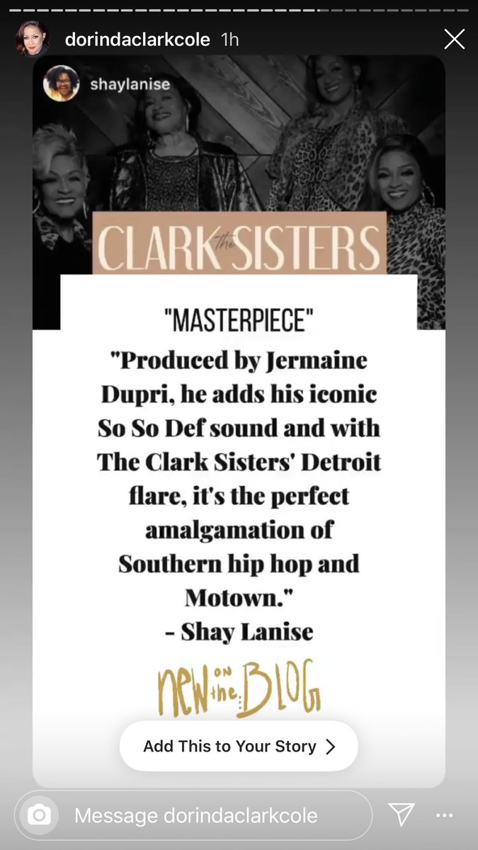 Thank you @DorindaTheRose for reposting my album review of #TheClarkSisters The Return on Instagram 💕 I'm happy to be writing again 🥰 #HappySaturday https://t.co/7sEJ8TXePI