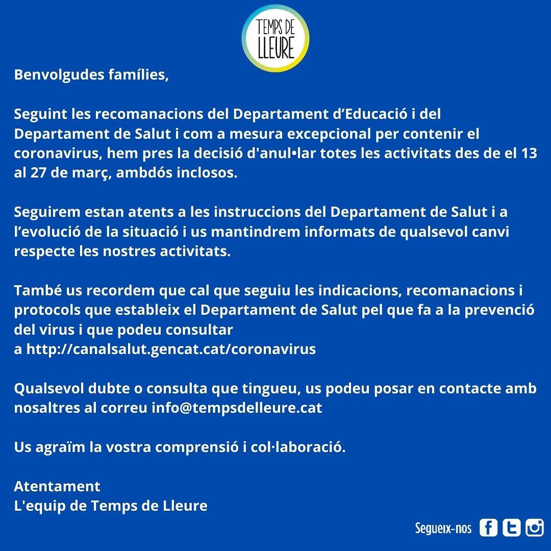 Seguint les indicacions del Departament de Salut de d'Educació, tanquem les nostres oficines i queden aturades totes les activitats. Gràcies per la vostra col•laboració! #tempsdelleure #spribes #ribes #coronavirus https://t.co/shcBUYyq4H