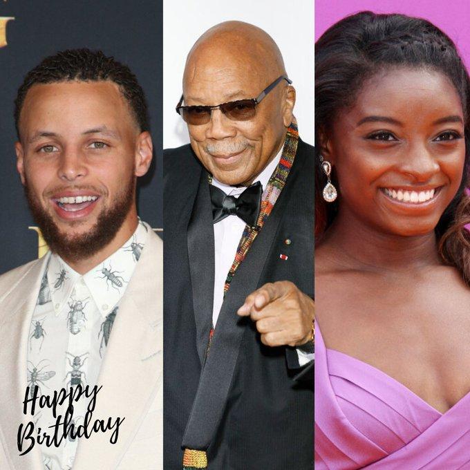 Happy birthday to Steph Curry, Quincy Jones and Simone Biles!