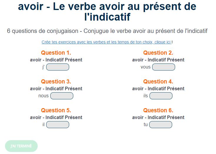 Ortholud Com On Twitter Exercice De Conjugaison Le Verbe Avoir Conjugue Le Verbe Avoir Au Present De L Indicatif Https T Co Fwtnadryxj