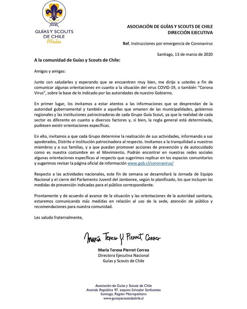 Atención a la comunidad de Guías y Scouts de Chile!  Comunicado de la Dirección Ejecutiva Nacional con orientaciones en relación a nuestras actividades y la situación del virus COVID-19. #AGSCh #WAGGGS #WOSM #AMGS #OMMS Descarga el comunicado aquí: https://t.co/RJDXEsllGx https://t.co/DokZmtHuoq