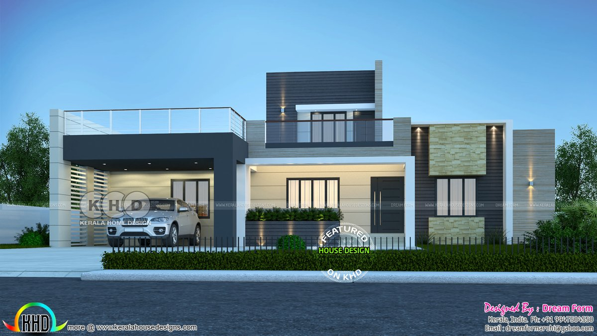Kerala Home On Twitter Modern Flat Roof Style House With Stair Room Https T Co Cxjkujujyr