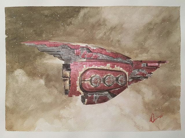 """Crown and Swords Revelation from #eveonline , 9x12"""" #watercolour . #tweetfleet #eveisbeautiful #ccpgames  #scifipainting #scififantasy #space #spaceship #artofagamer #art #artist #lloydgeorge #dailyscifi #scifidaily #eveonline24 #ship #revelation #dreadnought #amarrpic.twitter.com/aQBkcTmpBV"""